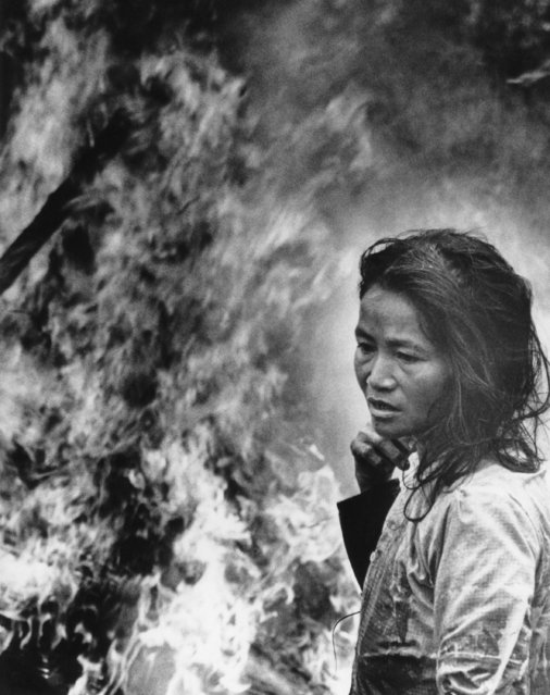 A South Vietnamese villager stands watches as her home goes up in flames in the coastal lowlands about 25 miles south of Da Nang, Vietnam on January 24, 1971. Her hut was set afire by South Vietnamese popular force troops after they found ammunition buried in her yard. (Photo by AP Photo)