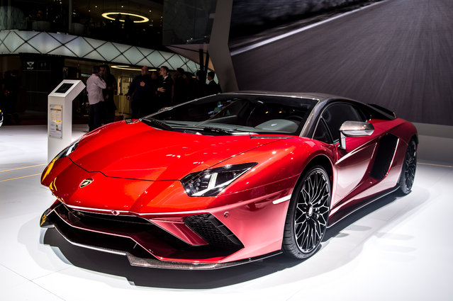 Lamborghini Aventador 834 is displayed at the 88th Geneva International Motor Show on March 6, 2018 in Geneva, Switzerland. Global automakers are converging on the show as many seek to roll out viable, mass-production alternatives to the traditional combustion engine, especially in the form of electric cars. The Geneva auto show is also the premiere venue for luxury sports cars and imaginative prototypes. (Photo by Robert Hradil/Getty Images)