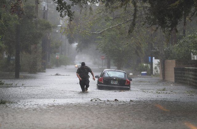 Justin Dossett walks through a flooded street as Hurricane Matthew passes through the area on October 7, 2016 in St Augustine, Florida. Florida, Georgia, South Carolina and North Carolina all declared a state of emergency in preparation of Hurricane Matthew. (Photo by Joe Raedle/Getty Images)