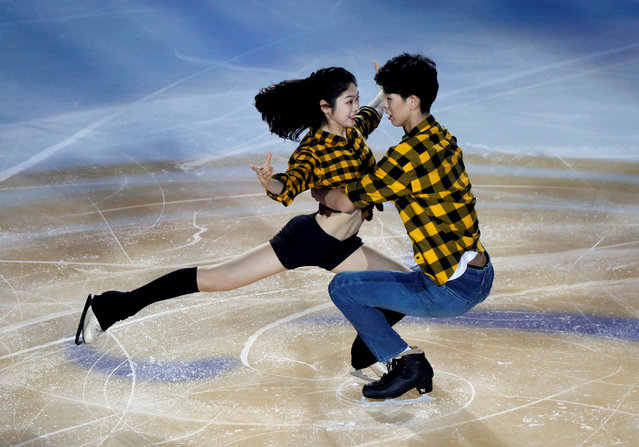Lin Yufei and Gao Zijian of China perform in the gala exhibition on day three of the ISU Grand Prix of Figure Skating Cup of China at Huaxi Sports Center on November 8, 2020 in Chongqing, China. (Photo by Carlos Garcia Rawlins/Reuters)