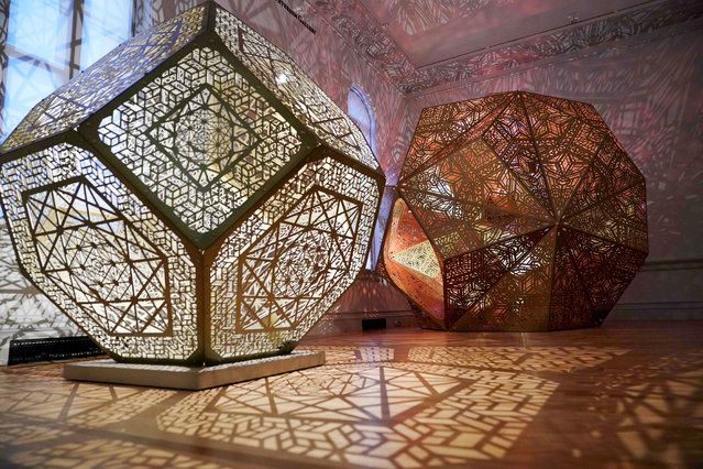 "Pieces by Yelena Filipchuk and Serge Beaulieu are seen during a preview of the ""No Spectators: The Art of Burning Man"" exhibition at the Renwick Gallery in Washington, DC on March 29, 2018. The show brings artwork from the Nevada desert gathering to Washington for the first time. The exhibition runs from March 30, 2018 to January 21, 2019. (Photo by Mandel Ngan/AFP Photo)"