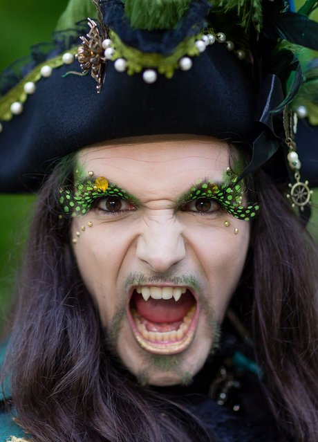 A man with fake vampire teeth wearing a pirate's costume attends the traditional park picnic on the first day of the annual Wave-Gotik Treffen, or Wave and Goth Festival, on May 17, 2013 in Leipzig, Germany. The four-day festival, in which elaborate fashion is a must, brings together over 20,000 Wave, Goth and steam punk enthusiasts from all over the world for concerts, readings, films, a Middle Ages market and workshops. (Photo by Marco Prosch)