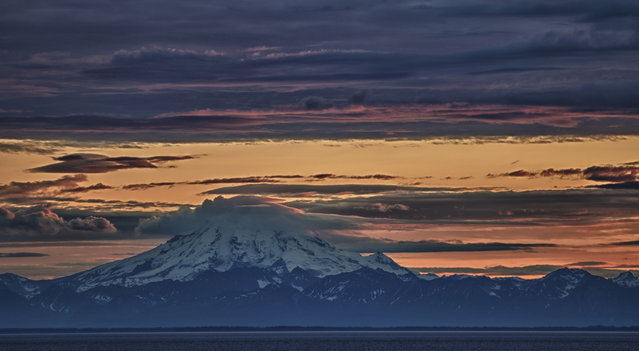 Sunset over Mt Redoubt. (Photo by Stephen Lee)