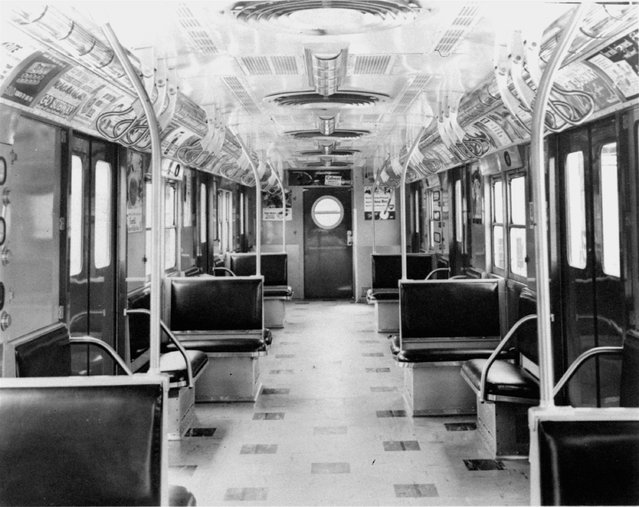 Patterned asbestos tile flooring, increased and improved fluorescent lighting, illuminated route and destination signs, double roofs, and electronically controlled heat and ventilation, improved brakes and door controls, and foam and vinyl seats are among major changes designed for passenger comfort and greater operational and maintenance efficiency in New York City subway cars on October 26, 1954. (Photo by AP Photo)