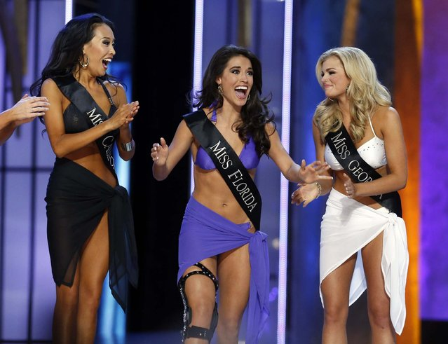 Miss Florida Myrrhanda Jones reacts after being chosen to move forward as she competes during the Miss America Pageant. (Photo by Lucas Jackson/Reuters)