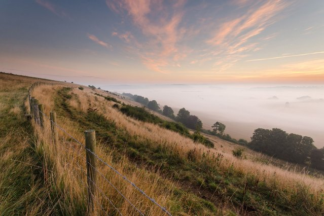 Autumn mist at Southdowns National Park on September 24th 2013. (Photo by Caters News)
