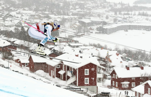Lindsey Vonn of the US competes during the Women's Combined Downhill event of the 2019 FIS Alpine Ski World Championships at the National Arena in Are, Sweden on February 8, 2019. (Photo by Christian Hartmann/Reuters)