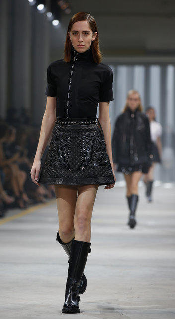 A model wears a creation for Diesel Black Gold women's Fall-Winter 2016-2017 collection, part of the Milan Fashion Week, unveiled in Milan, Italy, Friday, February 26, 2016. (Photo by Luca Bruno/AP Photo)