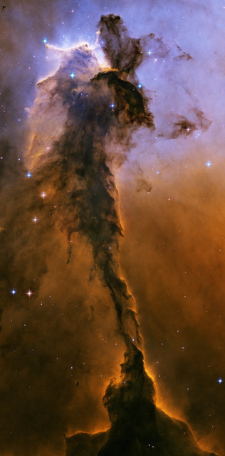 This image made by the NASA/ESA Hubble Space Telescope shows a tower of cold gas and dust rising from a stellar nursery called the Eagle Nebula. The soaring tower is 9.5 light-years high, about twice the distance from our Sun to the next nearest star. (Photo by NASA, ESA, Hubble Heritage Team STScI/AURA via AP Photo)
