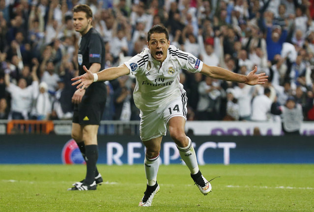 Football – Real Madrid vs Atletico Madrid – UEFA Champions League Quarter Final Second Leg – Estadio Santiago Bernabeu, Madrid, Spain, on April 22, 2015. Javier Hernandez celebrates after scoring the first goal for Real Madrid. (Photo by Juan Medina/Reuters)