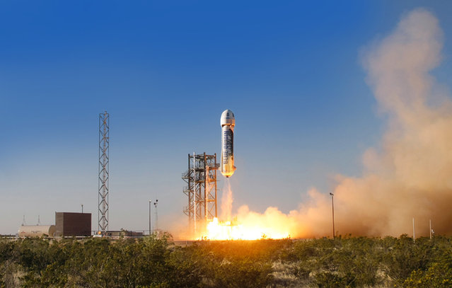 In this Thursday, April 29, 2015 photo provided by Blue Origin, the New Shepard space vehicle blasts off on its first developmental test flight over Blue Origin's west Texas Launch Site. In the latest development in the commercial space race, the private space company founded by Amazon.com CEO Jeff Bezos launched their unmanned spaceship in its maiden test flight. (Photo by Blue Origin via AP Photo)