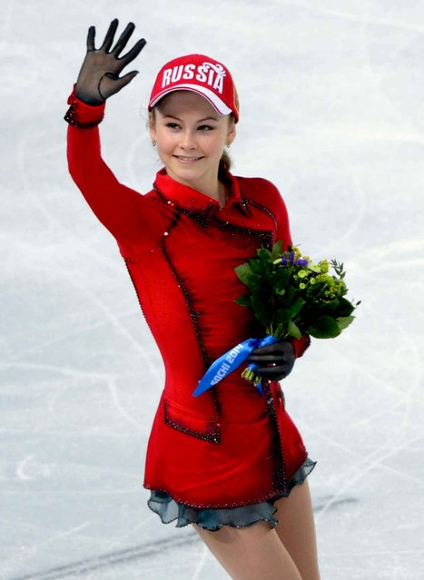 Yulia Lipnitskaya of Russia after winning Gold in the Figure Skating team event at the Iceberg Skating Palace during the Sochi 2014 Olympic Games, Sochi, Russia, 09 February 2014. (Photo by Molly Riley/SIPA Press)