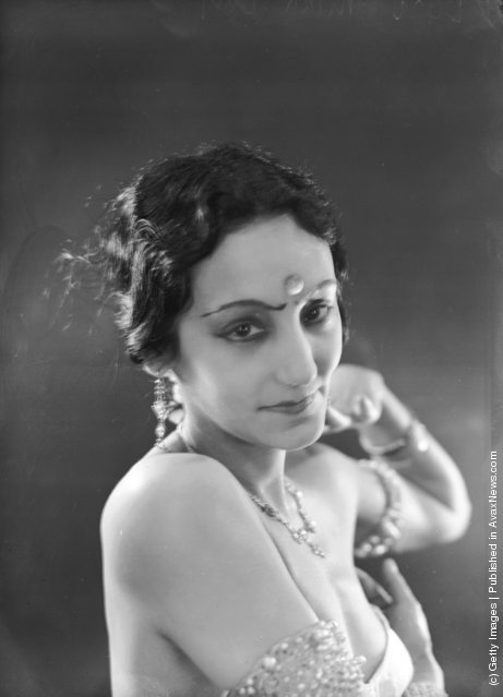 Indian dancer Mira Devi in costume for a cabaret show