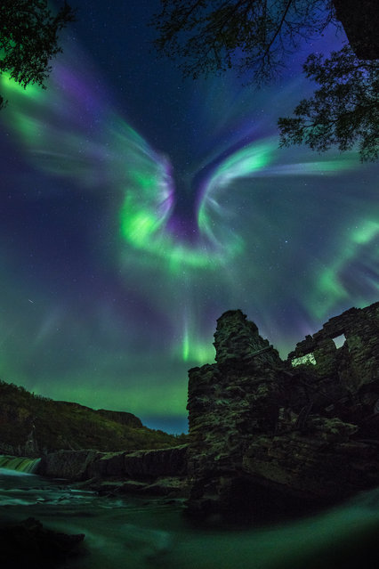 Aurora is a bird. Alexander Stepanenko (Russia). The majestic aurora, shaped like a bird, is spreading its wings over the destroyed military hydroelectric station located two hours away from Murmansk. (Photo by Alexander Stepanenko/National Maritime Museum)