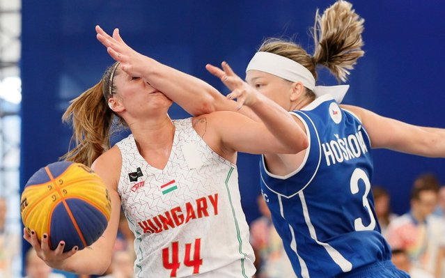 Borondy Vivien (L) of Hungary in action against Hoskova Kamila (R) of Czech Republic during the women's 3x3 basketball competitions, first round group B, at the Minsk 2019 European Games in Minsk, Belarus, 21 June 2019. (Photo by Sergey Dolzhenko/EPA/EFE/Rex Features/Shutterstock)