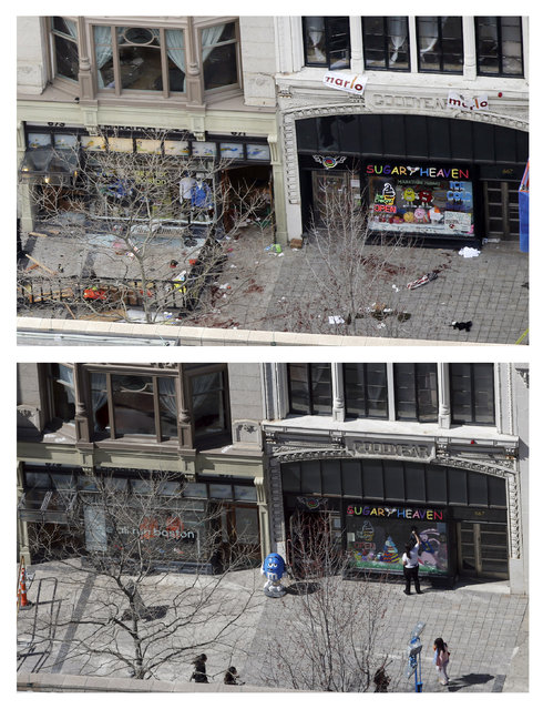 This combination of April 15, 2013  and April 10, 2014 photos show a view of Boylston Street in front of the Marathon Sports store, left, the site where the first of two bombs exploded near the finish line of the 2013 Boston Marathon, and pedestrians walking along the same sidewalk almost a year later in Boston. (Photo by Elise Amendola/AP Photo)