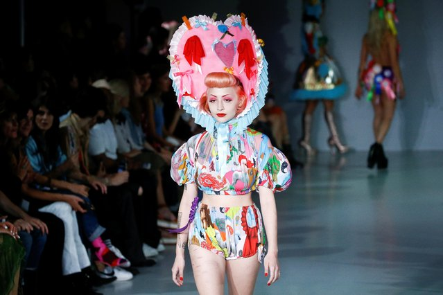 Models present creations during the Pam Hogg catwalk show during London Fashion Week in London, Britain, September 13, 2019. (Photo by Henry Nicholls/Reuters)