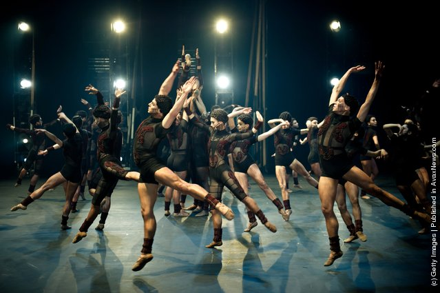Dancers of the English National Ballet perform MacMillan's The Rite of Spring from Beyond Ballet Russes with costumes by Kinder Aggugini at the Coliseum in London