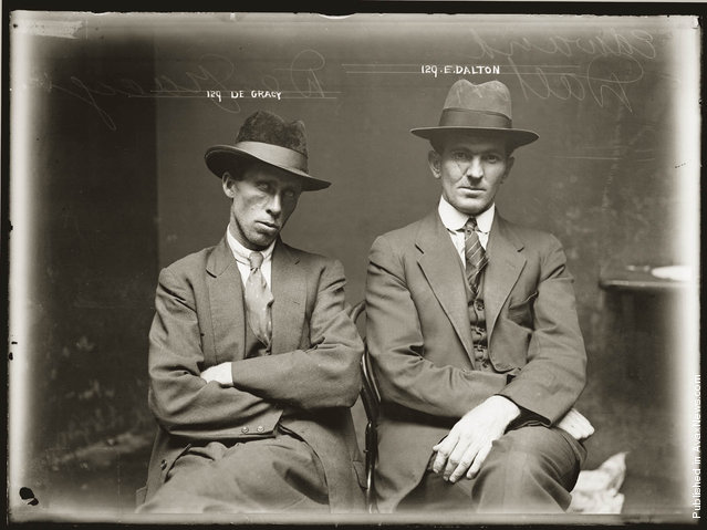 Mug shot of De Gracy (sic) and Edward Dalton. Details unknown. Central Police Station, Sydney, around 1920