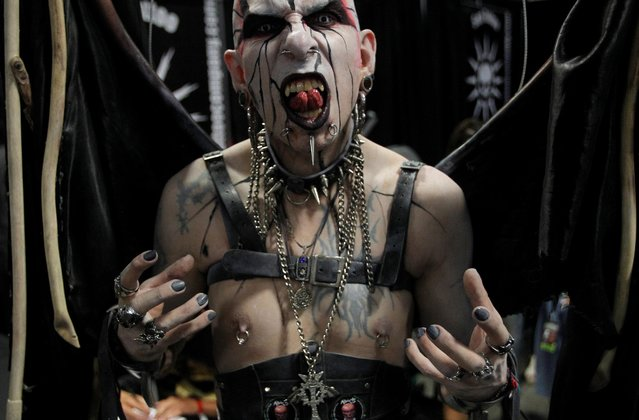 Jacobo Angel, who calls himself Death Angel, poses for a photograph during the Expo Tattoo Fair in Medellin, Colombia July 14, 2017. (Photo by Fredy Builes/Reuters)