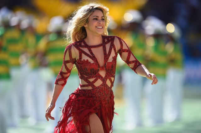 Singer Shakira performs during the closing ceremony prior to the 2014 FIFA World Cup Brazil Final match between Germany and Argentina at Maracana on July 13, 2014 in Rio de Janeiro, Brazil. (Photo by Matthias Hangst/Getty Images)