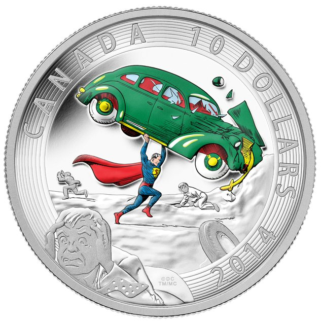 Close-up of the $10 silver coin in the new Superman series from the Royal Canadian Mint. (Photo by The Canadian Press)