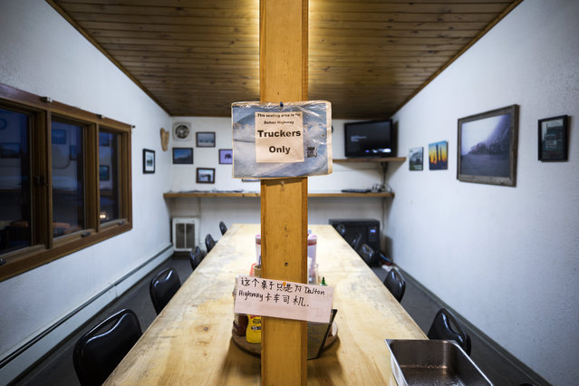 A sign marks a trucker's-only dining area at Coldfoot Camp, one of the few places to overnight along the Dalton Highway in Coldfoot, Alaska, USA, 06 September 2017. (Photo by Jim Lo Scalzo/EPA)