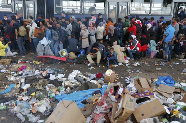 Migrants wait to board a bus at a migrant collection point in Roszke, Hungary September 12, 2015. (Photo by Laszlo Balogh/Reuters)