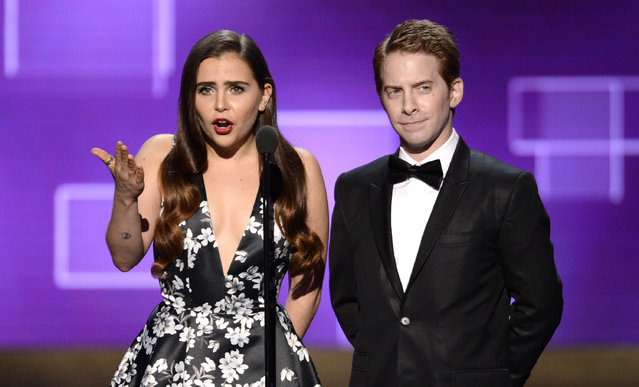 Mae Whitman, left, and Seth Green speak on stage at the Television Academy's Creative Arts Emmy Awards at Microsoft Theater on Saturday, September 12, 2015, in Los Angeles. (Photo by Phil McCarten/Invision for the Television Academy/AP Images)