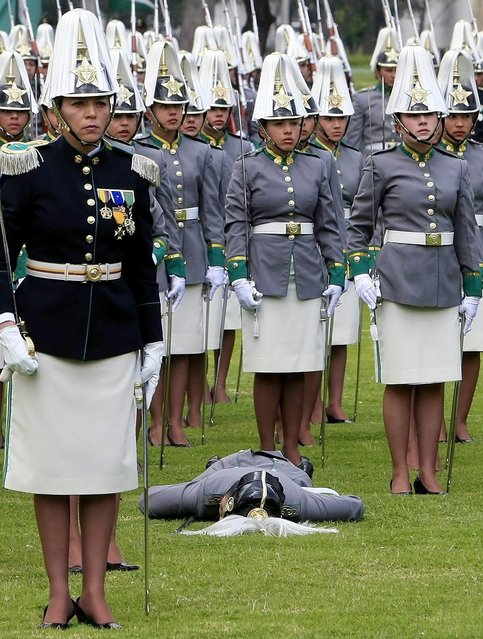 A female cadet, member of the General Francisco de Paula Santander Cadet's School, faints during the Colombian Police 121th Anniversary ceremony in Bogota, Colombia, on 2 November 2012. Colombian President, Juan Manuel Santos, and his counterparts from Costa Rica, Laura Chinchilla and Honduras, Porfirio Lobo attended the event. (Photo by Leonardo Munoz/EPA)
