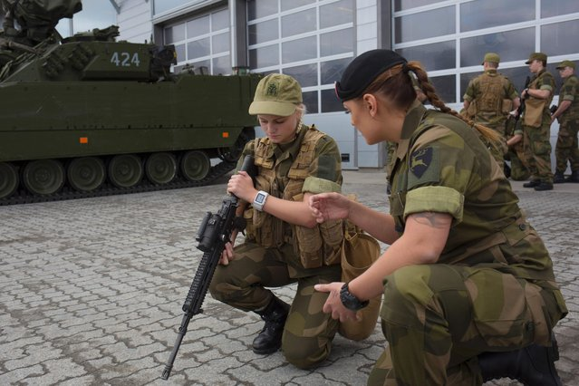 A female army recruit attends a base training at the armored battalion in Setermoen, northern Norway on August 11, 2016. (Photo by Kyrre Lien/AFP Photo)