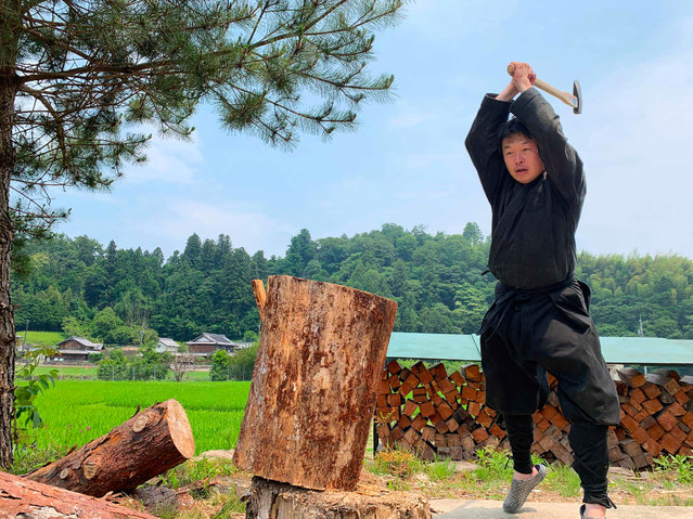 This handout photo taken on June 21, 2019 and received on June 26, 2020 courtesy of Genichi Mitsuhashi shows his ninja training in Iga, Mie prefecture. Genichi Mitsuhashi has become the first student ever to graduate from a Japanese university with a master's degree in ninja studies. (Photo by Genichi Mitsuhashi/AFP Photo)