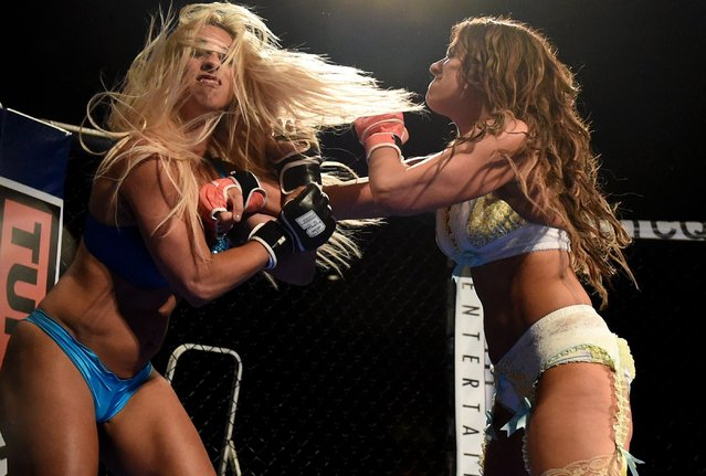 "Fighters Feather ""The Hammer"" Hadden (L) and Allie ""Babydoll"" Parks compete during ""Lingerie Fighting Championships 21: Naughty 'n Nice"" at the Robinson Rancheria Resort & Casino on June 18, 2016 in Nice, California. Hadden won the bout. (Photo by Ethan Miller/Getty Images for LFC)"