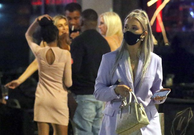 "Revellers partied the night away in Leeds, UK on September 5, 2020. Leeds has been added to Public Health England's coronavirus ""watchlist"" and could be hit with lockdown measures after a rise in coronavirus cases in the city. (Photo by NB Press LTD/The Sun)"