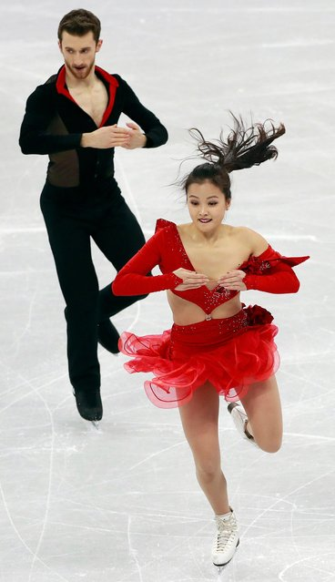 Yura Min has part of her costume slide off her left shoulder after a clasp came undone (R) as she and Alexander Gamelin of South Korea compete during the Ice Dance Short Dance of the Figure Skating Team Event competition at the Gangneung Ice Arena during the PyeongChang 2018 Olympic Games, South Korea, 11 February 2018. (Photo by How Hwee Young/EPA/EFE)