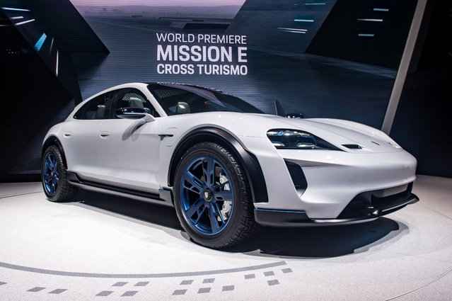 Porsche Mission E is displayed at the 88th Geneva International Motor Show on March 6, 2018 in Geneva, Switzerland. Global automakers are converging on the show as many seek to roll out viable, mass-production alternatives to the traditional combustion engine, especially in the form of electric cars. The Geneva auto show is also the premiere venue for luxury sports cars and imaginative prototypes. (Photo by Robert Hradil/Getty Images)