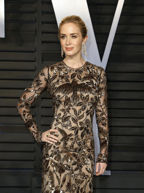 Emily Blunt attends the 2018 Vanity Fair Oscar Party hosted by Radhika Jones at the Wallis Annenberg Center for the Performing Arts on March 4, 2018 in Beverly Hills, California. (Photo by Danny Moloshok/Reuters)