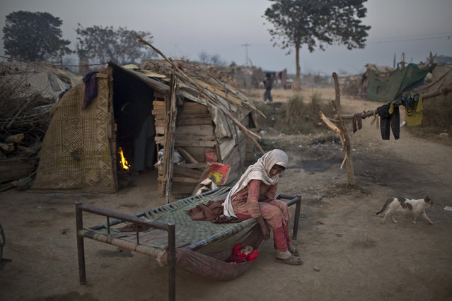 Elderly Pakistani Suraya Abdullah, 68, tends her granddaughter Shameem, 2, lying in a hammock attached on a bed outside their makeshift home in a slum in Islamabad, Pakistan, Saturday, December 27, 2014. (Photo by Muhammed Muheisen/AP Photo)