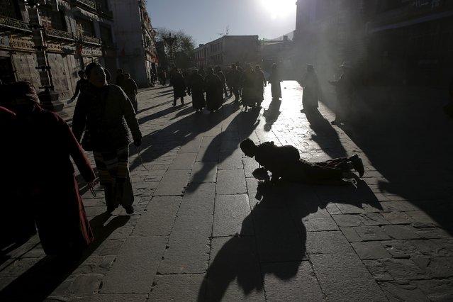 A Tibetan man prostrates himself as pilgrims walk toward the Jokhang Temple in central Lhasa, Tibet Autonomous Region, China as sun rises November 20, 2015. (Photo by Damir Sagolj/Reuters)