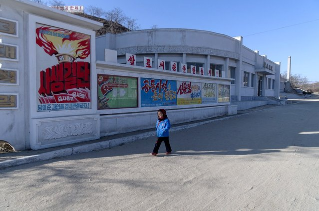 """A girl walks past propaganda posters at Chonsam cooperative farm, Feburary 2012. The poster with the torch says """"Ties bound in blood. Let us work together to accomplish the tasks given us by the Party"""". Blue poster: """"Let us use public facilities well"""". The fifth poster """"Let us support the Military First Policy"""". The banner at the top reads """"Let us support the land with rice"""". (Eric Testroete)"""