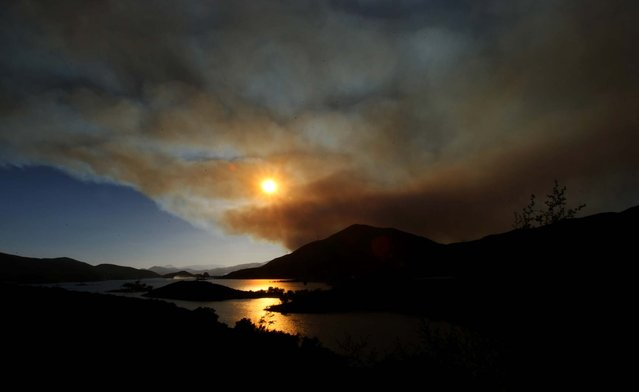 The Powerhouse fire burns hundreds of acres in Green Valley, California near the Bouquet Reservoir on May 30, 2013. (Photo by Genaro Molina/Los Angeles Times)