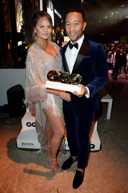 Chrissy Teigen and her husband John Legend attend the GQ Men of the Year Awards at Tate Modern on September 5, 2018 in London, England. (Photo by Richard Young/Rex Features/Shutterstock)