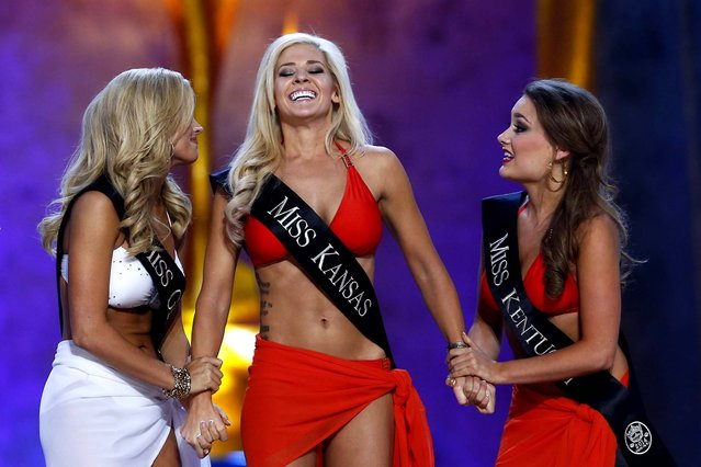 Miss Kansas Theresa Vail reacts after hearing she will move forward. (Photo by Lucas Jackson/Reuters)