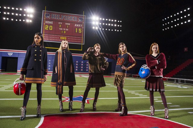 Models pose before presenting the Tommy Hilfiger Fall/Winter 2015 collection at the New York Fashion Week February 16, 2015. (Photo by Andrew Kelly/Reuters)
