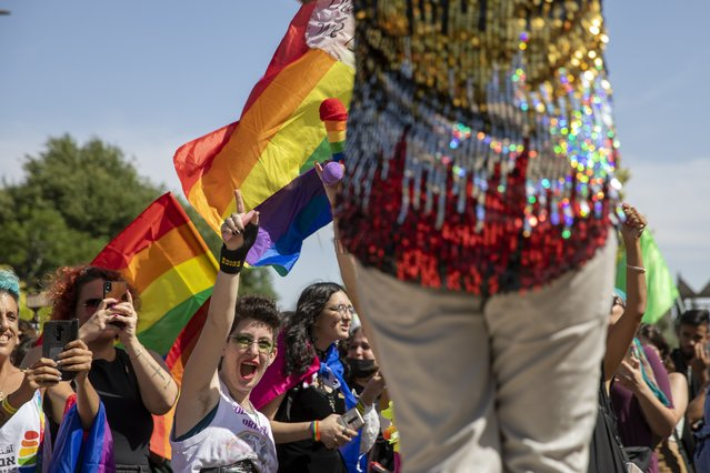 Participants dance in the annual Gay Pride parade in Jerusalem, Thursday, June 3, 2021. (Photo by Ariel Schalit/AP Photo)