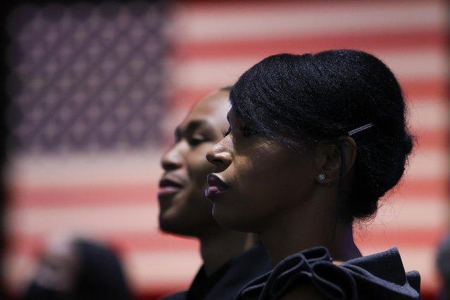 Attendees look on as U.S. Vice President Kamala Harris delivers remarks at Clark Atlanta University in Atlanta, Georgia, U.S. June 18, 2021. (Photo by Jonathan Ernst/Reuters)