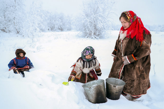 A woman with children gathers show for melting in the village of Gornoknyazevsk, Priuralsky District, Yamalo-Nenets Autonomous Area, Russia on December 11, 2018. Nomadic indigenous peoples of Northern Russia live in the so-called chums, a round tent-like temporary dwelling made of wooden poles wrapped in reindeer hides, with a fireplace in the middle; the wives of reindeer herders do the housekeeping there and are called chum-keepers. Since 2018, a chum-keeper is listed in Russia's Occupational Classification. (Photo by Donat Sorokin/TASS)