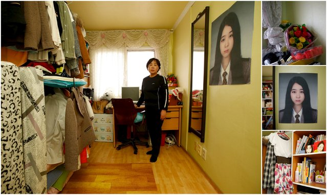 "A combination picture shows Ahn Myeong-mi, mother of Moon Ji-sung, a high school student who died in the Sewol ferry disaster as she poses for a photograph in her daughter's room as well as details of objects, in Ansan April 7, 2015. Ahn said: ""My perspective on my country has changed. I thought my country was good. I prayed for it. However, after the disaster, I couldn't pray for a while"". (Photo by Kim Hong-Ji/Reuters)"