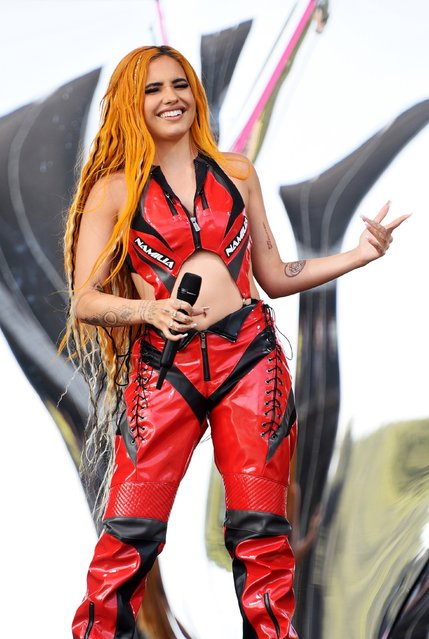 Swedish-English singer Mabel Alabama-Pearl McVey performs on Day 2 of Leeds Festival 2021 at Bramham Park on August 28, 2021 in Leeds, England. (Photo by Matthew Baker/Getty Images)