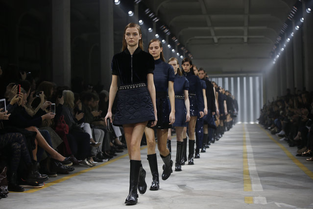 Models wear creations for Diesel Black Gold women's Fall-Winter 2016-2017 collection, part of the Milan Fashion Week, unveiled in Milan, Italy, Friday, February 26, 2016. (Photo by Luca Bruno/AP Photo)